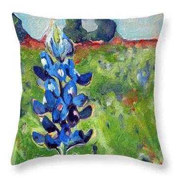 Texas Blue Bonnet Throw Pillow