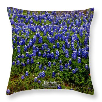 Throw Pillow featuring the photograph Texas Bluebonnets #0484 by Barbara Tristan