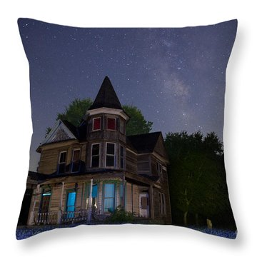 Texas Blue Bonnets At Night With Hearn Gidden House Throw Pillow