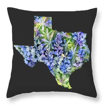 Texas Blue Texas Map On White Throw Pillow