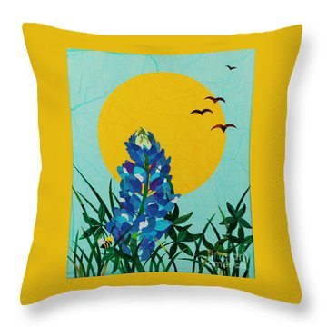 Throw Pillow featuring the mixed media Texas Bluebonnet by Diane Miller