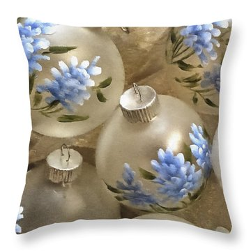 Texas Bluebonnet Ornaments Throw Pillow by Betty Denise