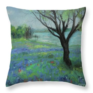 Throw Pillow featuring the painting Texas Bluebonnet Trail by Robin Maria Pedrero