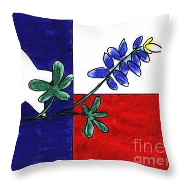 Throw Pillow featuring the drawing Texas Bluebonnet by Vonda Lawson-Rosa