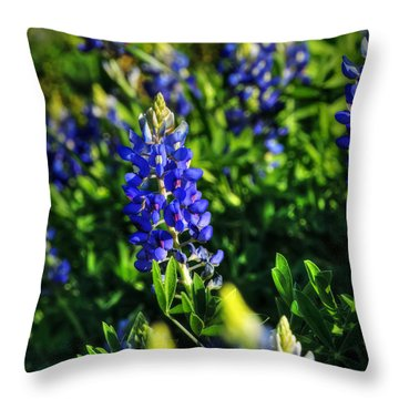Throw Pillow featuring the photograph Texas Bluebonnets 001 by Lance Vaughn