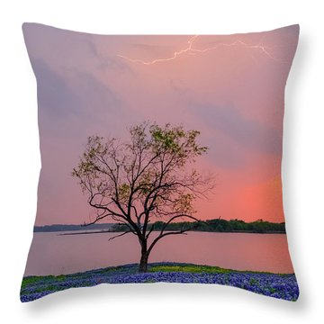Texas Bluebonnets And Lightning Throw Pillow