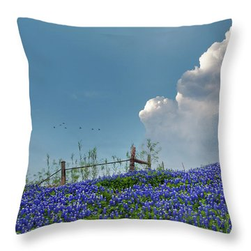 Throw Pillow featuring the photograph Texas Bluebonnets And Spring Showers by David and Carol Kelly