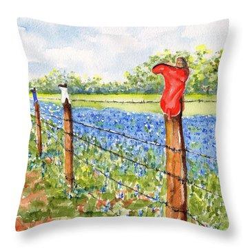 Texas Bluebonnets Boot Fence Throw Pillow