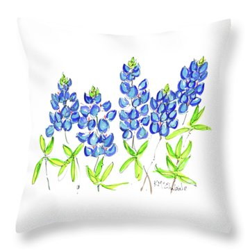Texas Bluebonnets Watercolor Painting By Kmcelwaine Throw Pillow