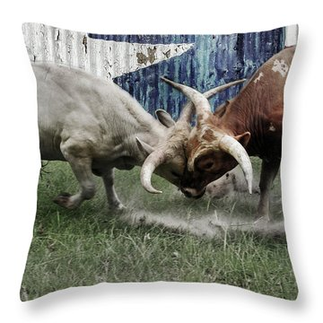 Texas Bull Fight  Throw Pillow