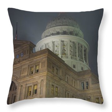 Texas Capitol In Fog Throw Pillow