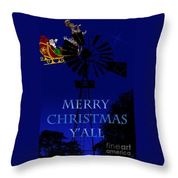 Texas Christmas Card Throw Pillow