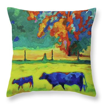Texas Cow And Calf At Sunset Print Bertram Poole Throw Pillow