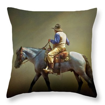 Throw Pillow featuring the photograph Texas Cowboy And His Horse by David and Carol Kelly