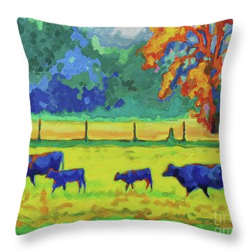 Texas Cows And Calves At Sunset Painting T Bertram Poole Throw Pillow