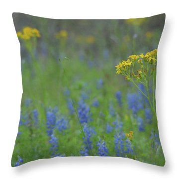 Texas Field With Blue Bonnets Throw Pillow