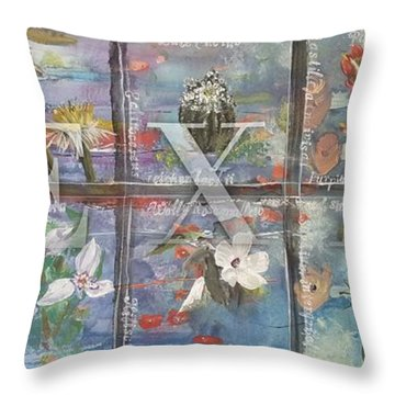 Texas Flowers In Blue Throw Pillow