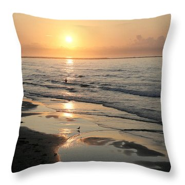 Texas Gulf Coast At Sunrise Throw Pillow