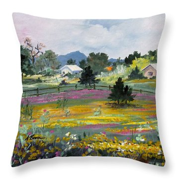 Texas Hillcountry Flowers Throw Pillow