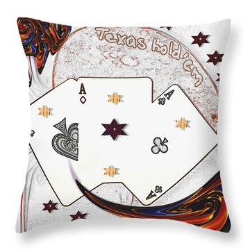 Texas Hold Em Poker Throw Pillow by Pepita Selles