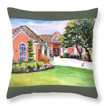 Texas Home Spanish Tuscan Architecture  Throw Pillow