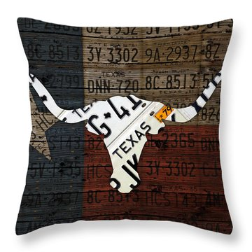 Texas Longhorn And Lone Star State Flag Recycled Vintage License