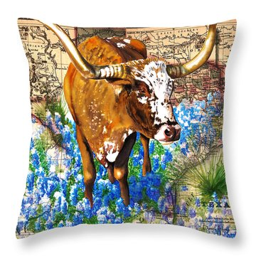 Texas Longhorn In Bluebonnets Throw Pillow
