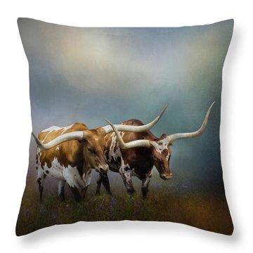 Texas Longhorn Pair Throw Pillow