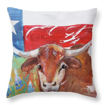 Throw Pillow featuring the painting Texas Longhorn by Robin Maria Pedrero