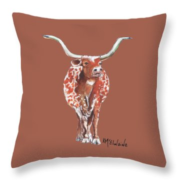 Texas Longhorn Taking The Lead Watercolor Painting By Kmcelwaine Throw Pillow