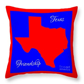 Texas Map In State Colors Blue White And Red With State Motto Friendship Throw Pillow by Rose Santuci-Sofranko