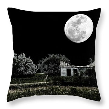 Texas Moon Throw Pillow by Travis Burgess