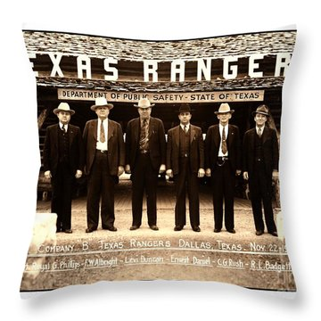 Throw Pillow featuring the photograph Texas Rangers Company B At Their Dallas Headquarters 1938 by Peter Gumaer Ogden