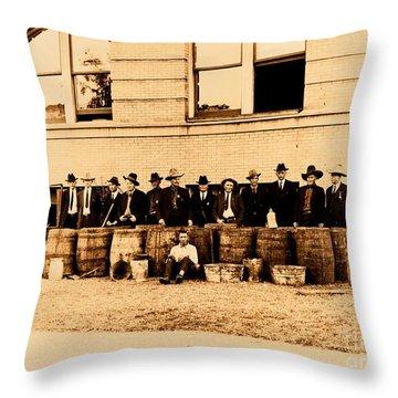 Throw Pillow featuring the photograph Texas Rangers Grand Haul Of Bootleggers 1922 Near Tyler Texas by Peter Gumaer Ogden