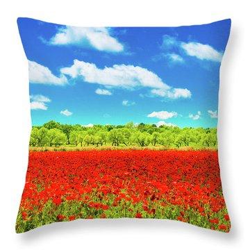 Texas Red Poppies Throw Pillow