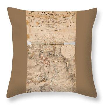 Texas Revolution Santa Anna 1835 Map For The Battle Of San Jacinto  Throw Pillow