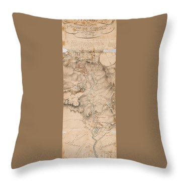 Texas Revolution Santa Anna 1835 Map For The Battle Of San Jacinto  Throw Pillow