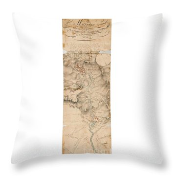 Throw Pillow featuring the drawing Texas Revolution Santa Anna 1835 Map For The Battle Of San Jacinto With Border by Peter Gumaer Ogden