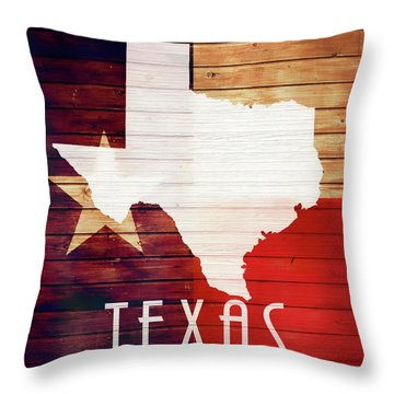 Texas Rustic Map On Wood Throw Pillow