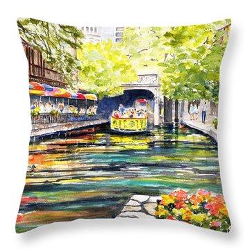 Texas San Antonio River Walk Throw Pillow