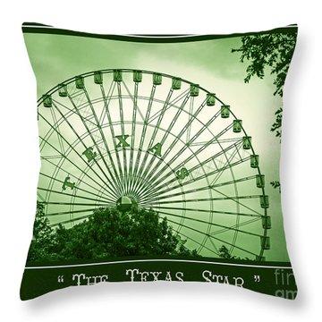 Texas Star In Green Throw Pillow