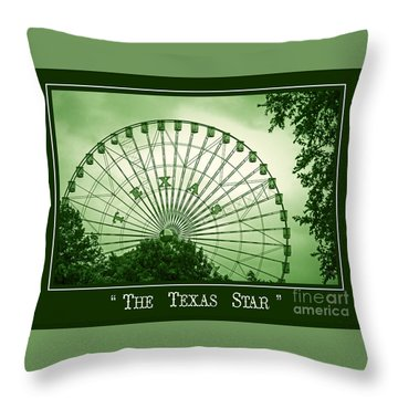 Texas Star In Green Throw Pillow