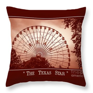 Texas Star In Orange Throw Pillow