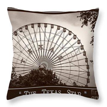 Texas Star In Sepia Throw Pillow