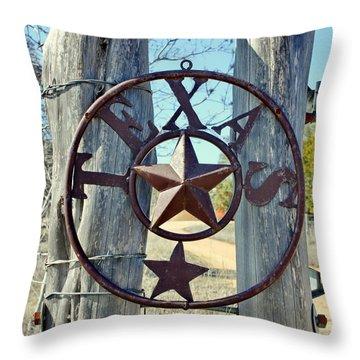 Texas Star Rustic Iron Sign Throw Pillow