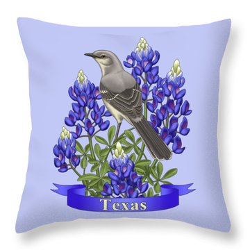Texas State Mockingbird And Bluebonnet Flower Throw Pillow
