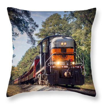 Texas State Railroad Throw Pillow by Ray Devlin