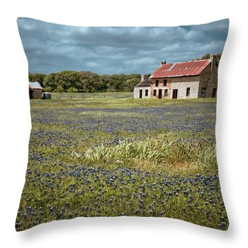 Throw Pillow featuring the photograph Texas Stone House by Linda Unger