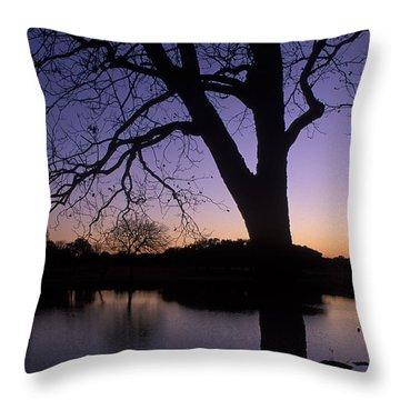Texas Sunset On The Lake Throw Pillow by Kathy Yates