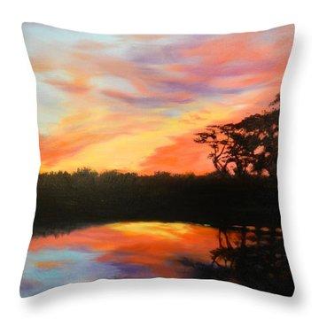 Texas Sunset Silhouette Throw Pillow